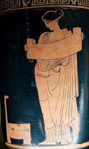 Boeotian muse reading scroll